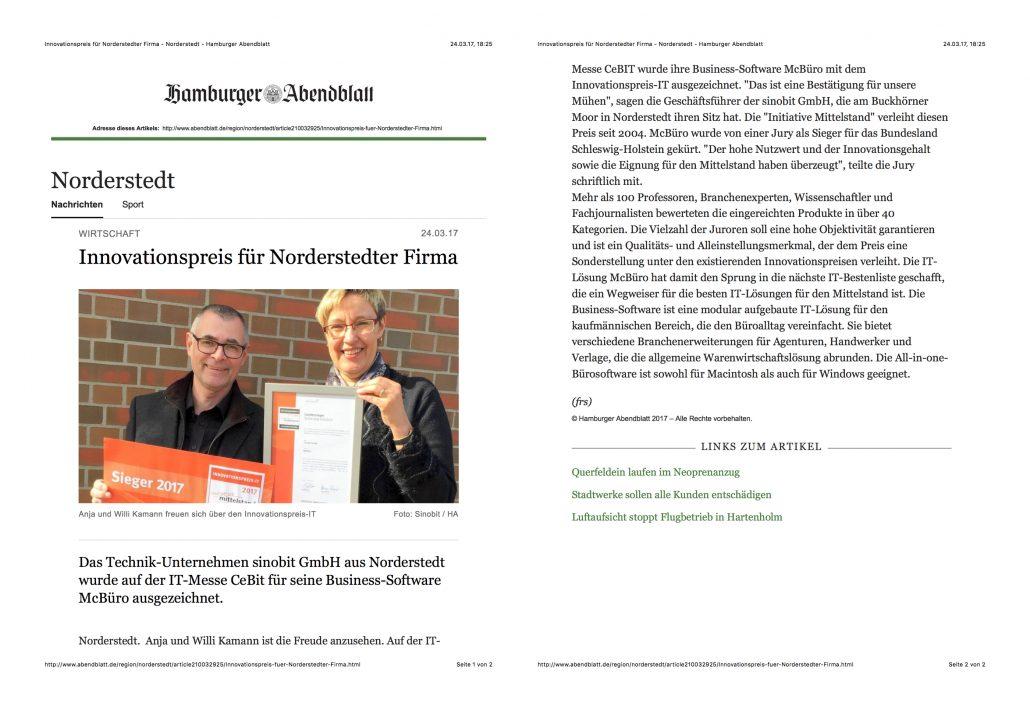 Hamburger Abendblatt Innovationspreis-IT