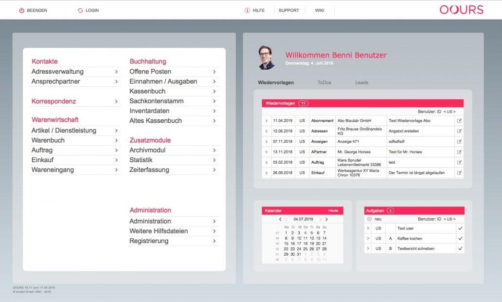 Startseite der OOURS Handwerkersoftware