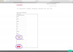OOURS Installation - Eingabe Kontaktdaten