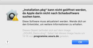 OOURS Installation - Fehlermeldung beim Öffnen