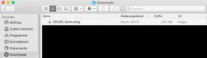 OOURS Installation - Datei im Download-Ordner