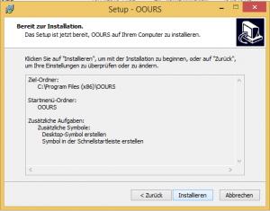 OOURS-Installation unter Windows: Zusammenfassung der Einstellungen
