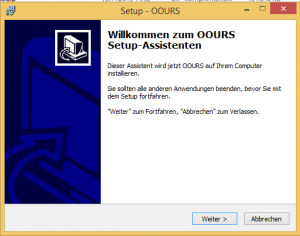 OOURS-Installation unter Windows: Start des Setup-Assistenten