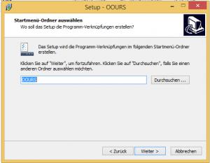 OOURS-Installation unter Windows: Startmenü-Ordner auswählen