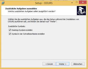 OOURS-Installation unter Windows: Verknüpfungen erstellen