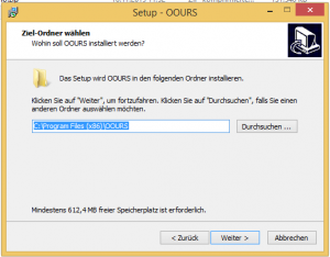 OOURS-Installation unter Windows: Zielordner auswählen