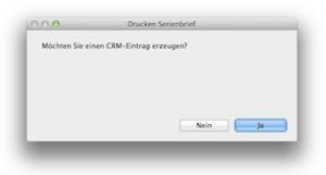 Serienmailversand: CRM-Eintrag erzeugen