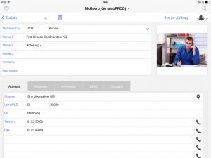 OOURS Go: Adressverwaltung iPad
