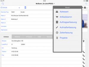 OOURS Go: Menüaufruf iPad