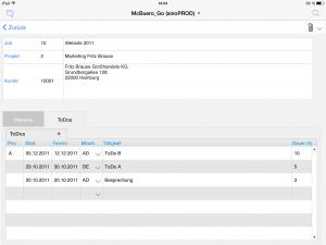 OOURS Go: Projektverwaltung iPad
