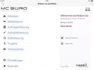 OOURS Go: Startfenster iPad