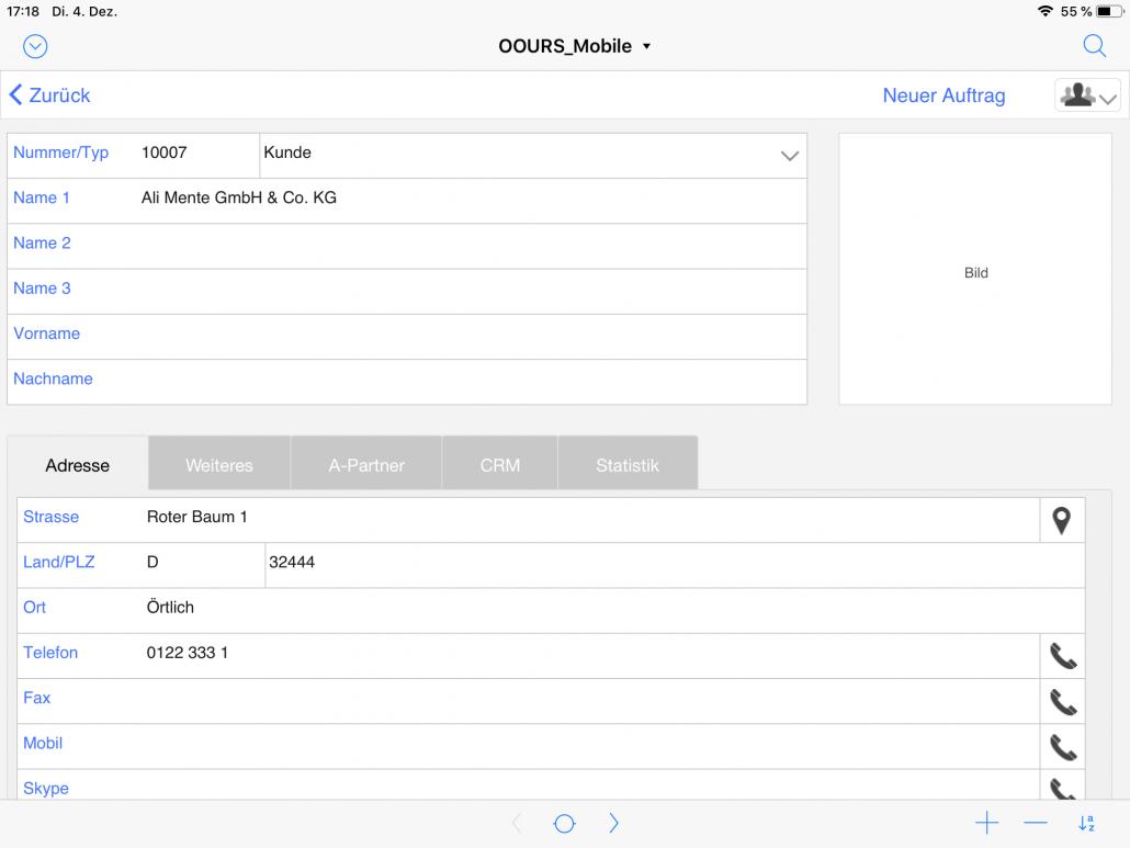 Adressdetails iPad