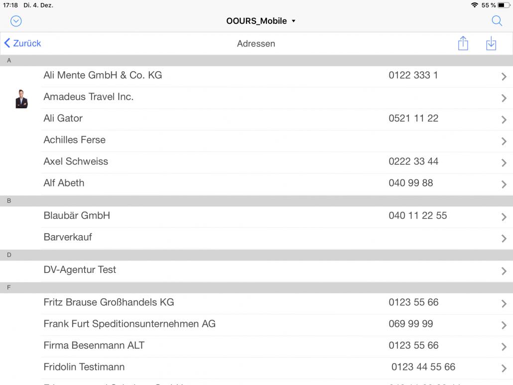 Adressliste iPad