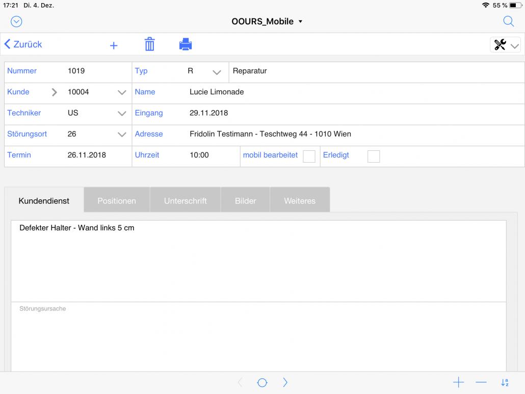 Kundendienst Detail iPad
