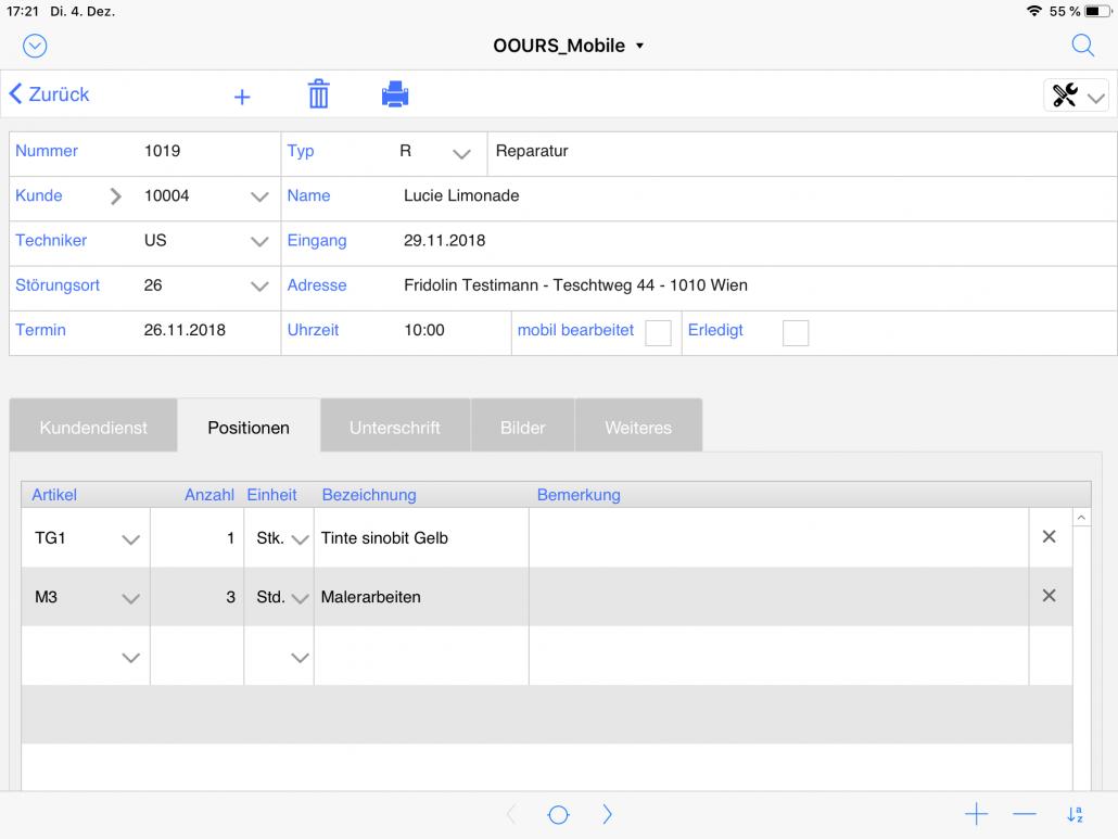 Kundendienst Positionen iPad