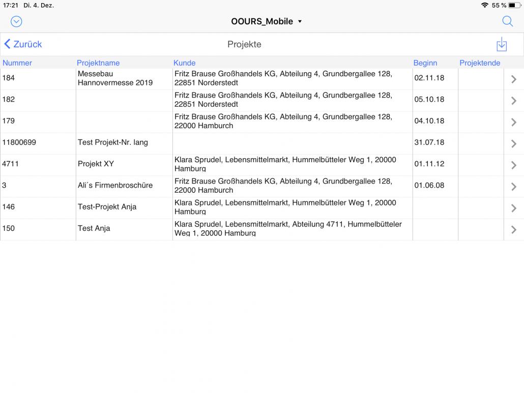Projektliste iPad