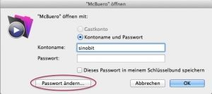 Passwort ändern in OOURS